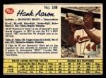 1962 Post Canadian #149  Hank Aaron  Front Thumbnail