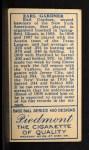 1911 T205  Earl Gardner  Back Thumbnail