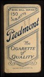 1909 T206 FRT Wildfire Schulte   Back Thumbnail
