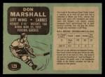 1970 O-Pee-Chee #129  Don Marshall  Back Thumbnail