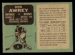 1970 O-Pee-Chee #4  Don Awrey  Back Thumbnail