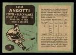 1970 O-Pee-Chee #12  Lou Angotti  Back Thumbnail
