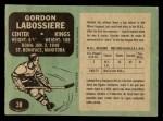 1970 O-Pee-Chee #38  Gord Labossiere  Back Thumbnail