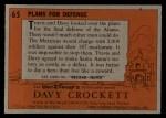 1956 Topps Davy Crockett Orange Back #65   Plans For Defense  Back Thumbnail