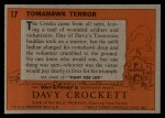1956 Topps Davy Crockett Orange Back #17   -     Tomahawk Terror  Back Thumbnail