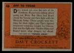 1956 Topps Davy Crockett #46   Off To Texas  Back Thumbnail