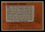 1956 Topps Davy Crockett #17   -     Tomahawk Terror  Back Thumbnail