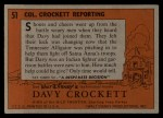 1956 Topps Davy Crockett #51   -     Col. Crockett Reporting  Back Thumbnail