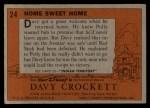 1956 Topps Davy Crockett #24   Home Sweet Home  Back Thumbnail
