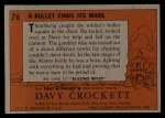1956 Topps Davy Crockett #76   Bullet Finds Its Mark  Back Thumbnail