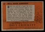 1956 Topps Davy Crockett #61   We'll Never Surrender  Back Thumbnail