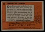1956 Topps Davy Crockett #42   Serving His Country  Back Thumbnail