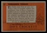 1956 Topps Davy Crockett Orange Back #17   -     Tomahawk Terror  Back Thumbnail