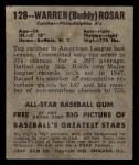1948 Leaf #128  Warren  Buddy  Rosar  Back Thumbnail