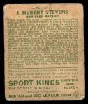 1933 Goudey Sport Kings #47  J. Hubert Stevens   Back Thumbnail