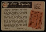 1955 Bowman #201  Allie Reynolds  Back Thumbnail