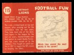 1958 Topps #115   Lions Team Back Thumbnail