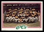 1978 Topps #577   Athletics Team Checklist Front Thumbnail