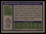 1972 Topps #151  MacArthur Lane  Back Thumbnail