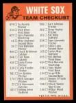 1973 Topps Blue Checklist   White Sox Back Thumbnail