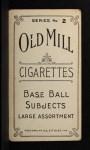 1910 T210-2 Old Mill Virginia League  Landgraff  Back Thumbnail