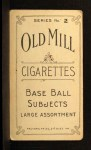 1910 T210-2 Old Mill Virginia League  Spicer  Back Thumbnail