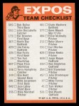 1973 Topps Blue Checklist   Expos Back Thumbnail