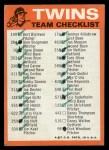 1973 Topps Blue Checklist   Twins Back Thumbnail