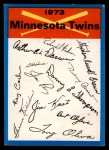 1973 Topps Blue Checklist   Twins Front Thumbnail