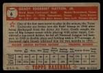 1952 Topps #6  Grady Hatton  Back Thumbnail