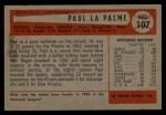 1954 Bowman #107  Paul LaPalme  Back Thumbnail