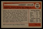 1954 Bowman #80 COR Johnny Logan  Back Thumbnail