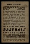 1952 Bowman #9  Vern Stephens  Back Thumbnail