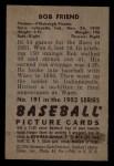1952 Bowman #191  Bob Friend  Back Thumbnail
