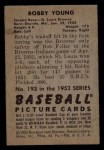 1952 Bowman #193  Bob Young  Back Thumbnail