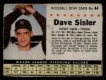 1961 Post #44  Dave Sisler   Front Thumbnail