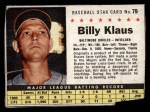 1961 Post Cereal #79  Billy Klaus   Front Thumbnail