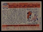 1957 Topps #339  Bob Speake  Back Thumbnail