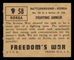 1950 Topps Freedoms War #58   Fighting Armor Back Thumbnail