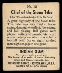 1947 Goudey Indian Gum #12   Sioux Tribe Back Thumbnail