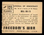 1950 Topps Freedoms War #121   Bell Xr-13  Back Thumbnail