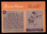 1970 Topps #101  Dave Rowe  Back Thumbnail