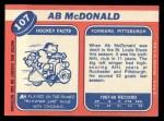 1968 Topps #107  Ab McDonald  Back Thumbnail