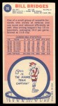 1969 Topps #86  Bill Bridges  Back Thumbnail