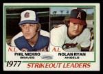 1978 Topps #206   -  Nolan Ryan / Phil Niekro Strikeout Leaders  Front Thumbnail