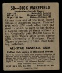 1948 Leaf #50  Dick Wakefield  Back Thumbnail