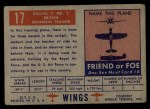1952 Topps Wings #17   Balliol T. MK.2 Back Thumbnail