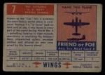 1952 Topps Wings #7   PBY Catalina Back Thumbnail