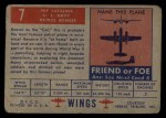 1952 Topps Wings #7   PBY Catalina Back Thumbnail