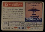 1952 Topps Wings #85   Viscount Back Thumbnail